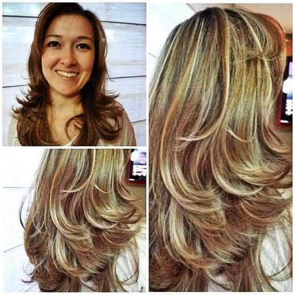cortes de cabelo repicado com luzes
