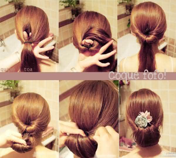 penteados fácil decorado com flor