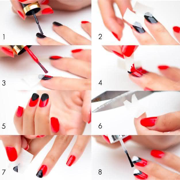 Tutorial passo a passo de unhas decoradas com 3 cores