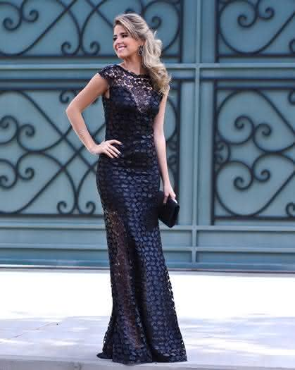 Vestido de renda preto 2018