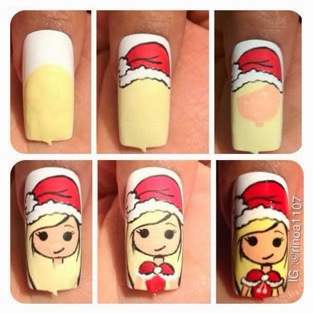 tutorial nail art de natal