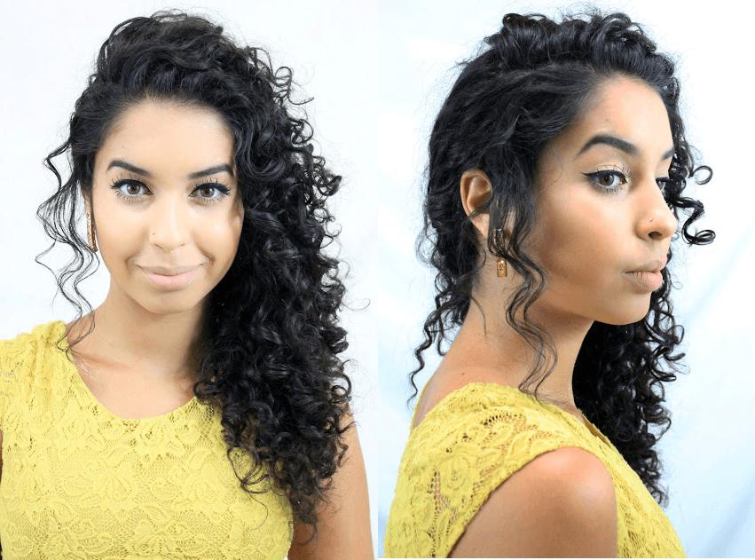 penteado para cabelo cacheado - Opção de lado