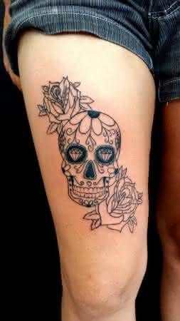 tatuagem-caveira-mexicana-coxa