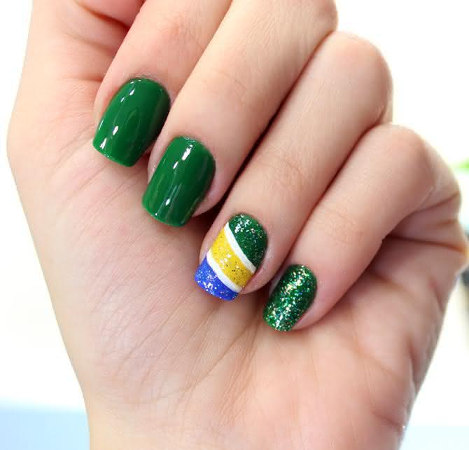 Unhas decoradas do brasil bandeira