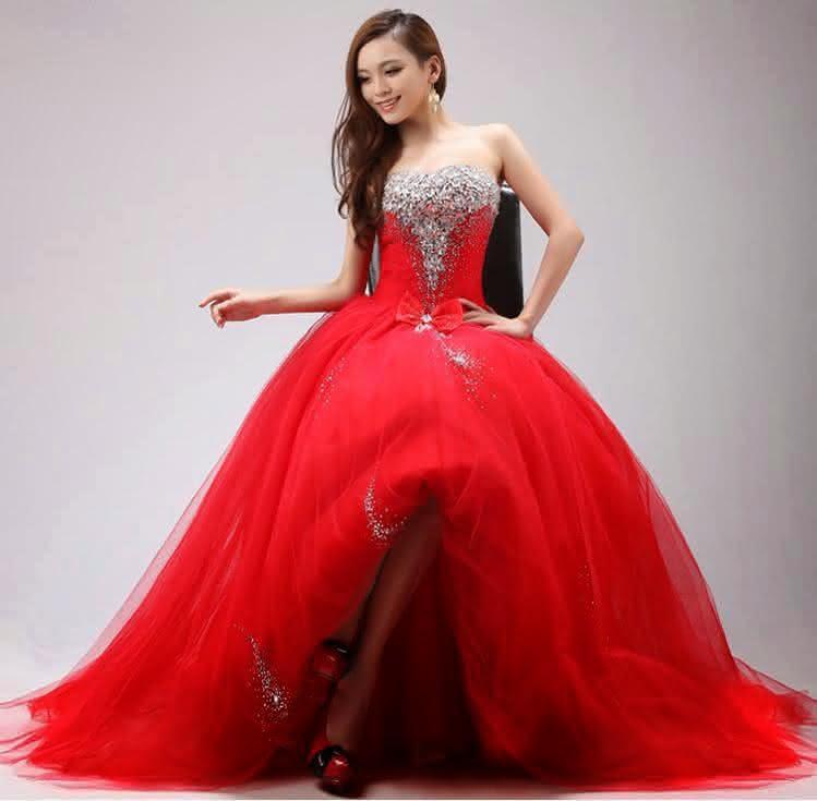 vestido longo para debutantes vermelho