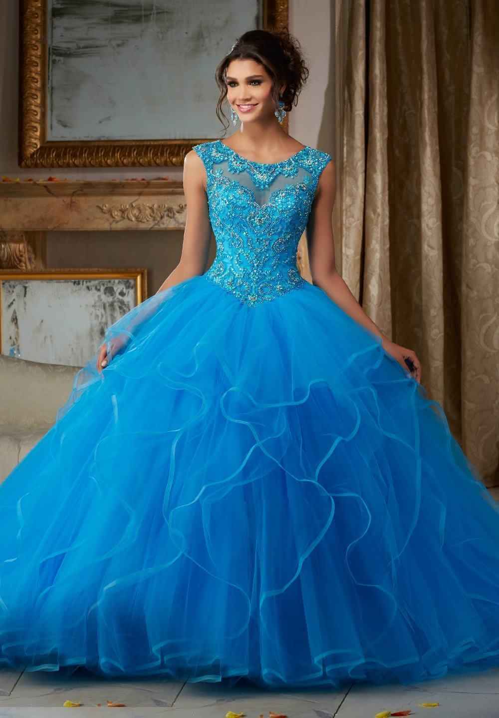 Vestidos de debutantes longos azul brilhante