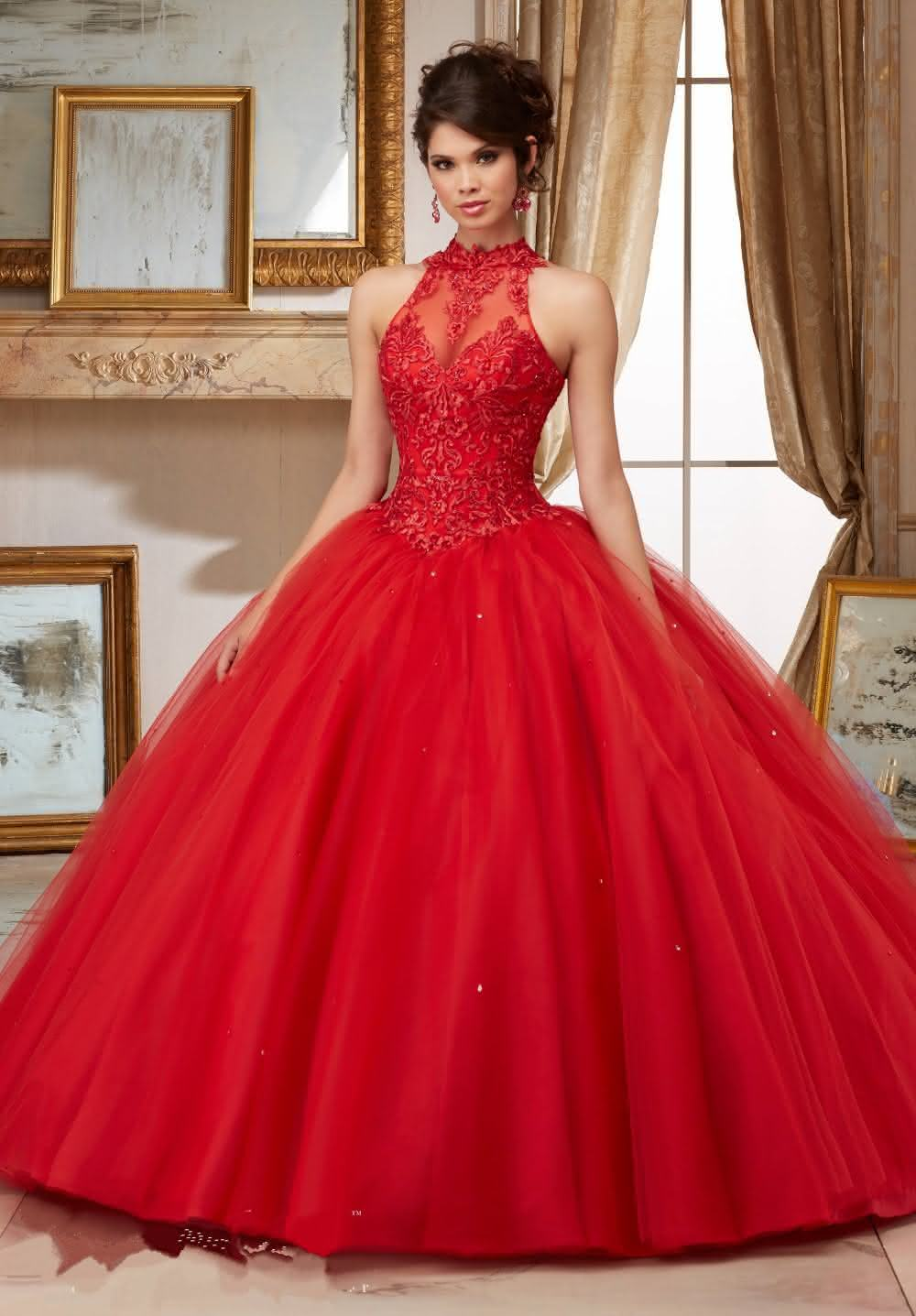 Crystal-High-Neck-Ball-font-b-Gown-b-font-Red-Quinceanera-Dresses-2016-Lace-Appliques-Blue