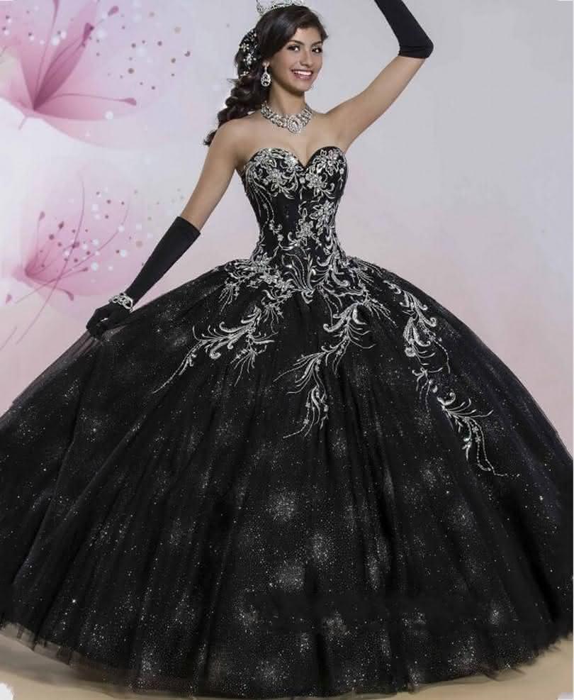 Luxo-preto-vestidos-Quinceanera-2016-cintilante-saia-Softly-Tulle-vestidos-de-baile-para-15-anos-doce