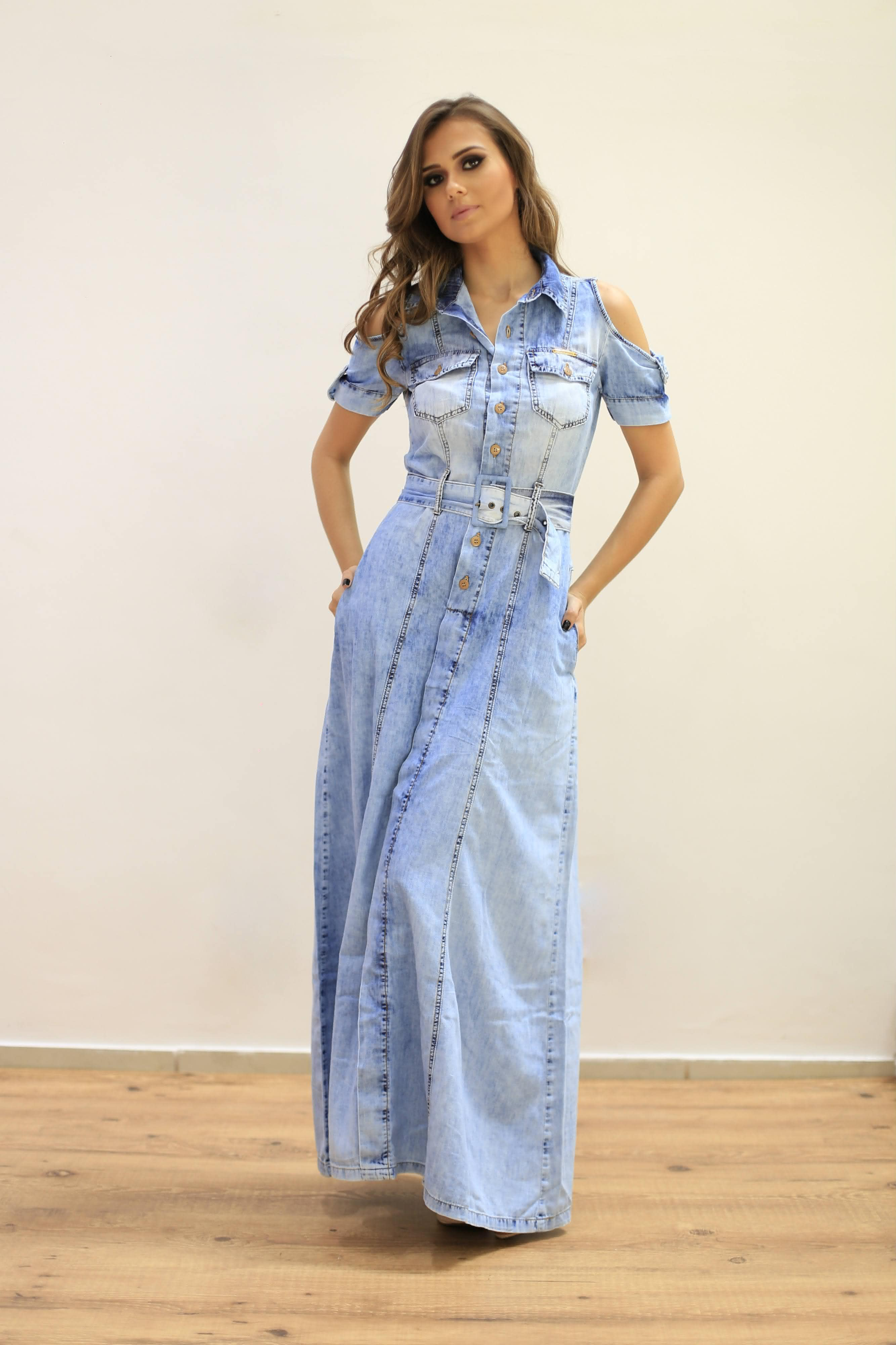 Vestido jeans longo de manga