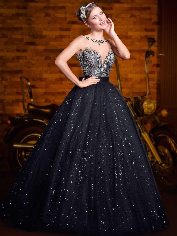 d55dd07a3 vestidos-de-15-anos-preto-com-prata ...