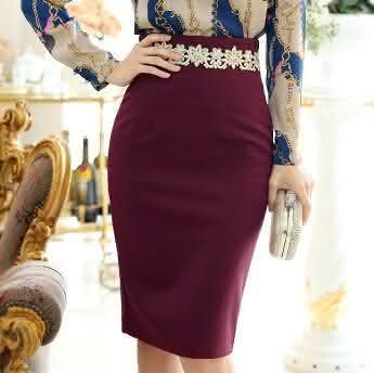 Elegante-cabido-das-mulheres-de-negócios-joelho-longo-emagrecimento-de-cintura-alta-lápis-OL-saia-conjuntos