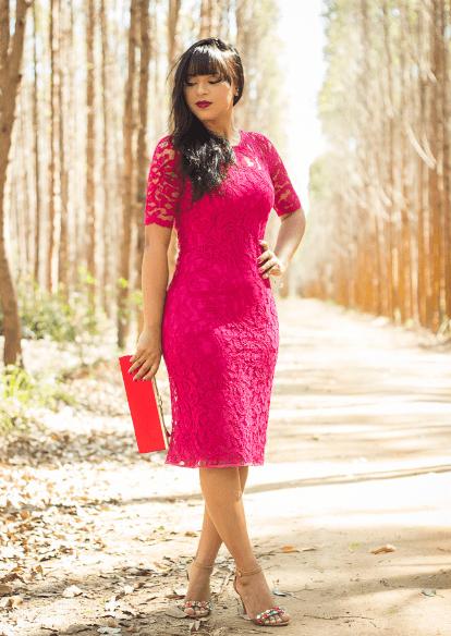vestidos para evangélicas rosa rendada
