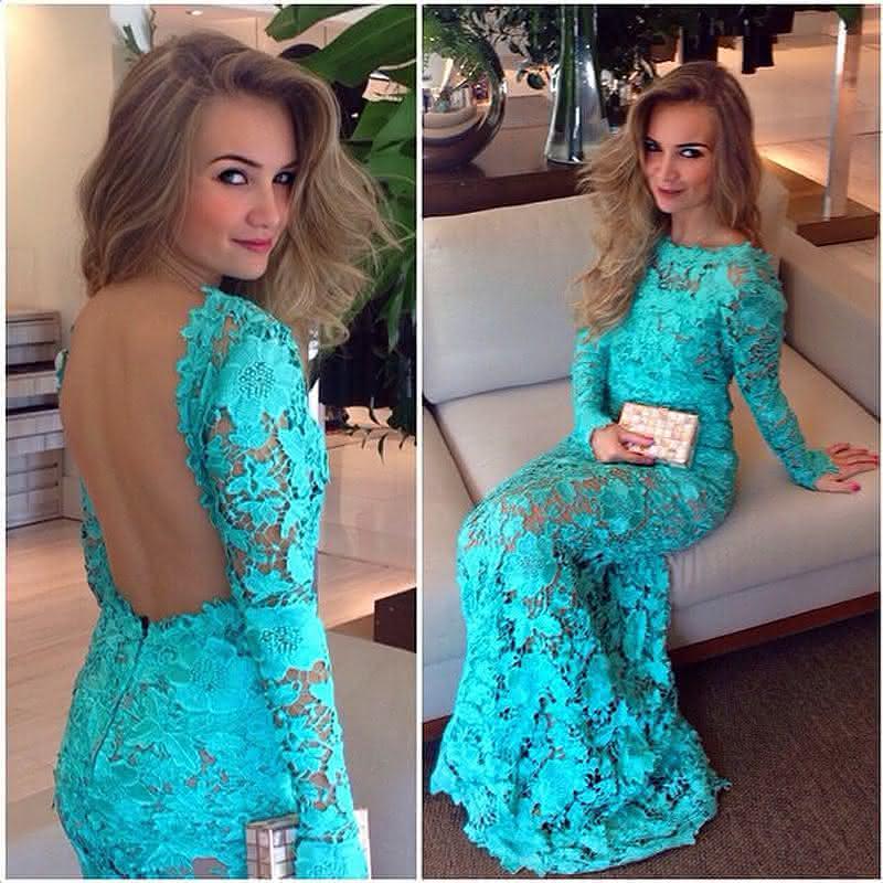 Vestido madrinha renda azul tiffany