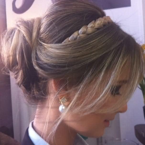 penteado de festa coque com trança
