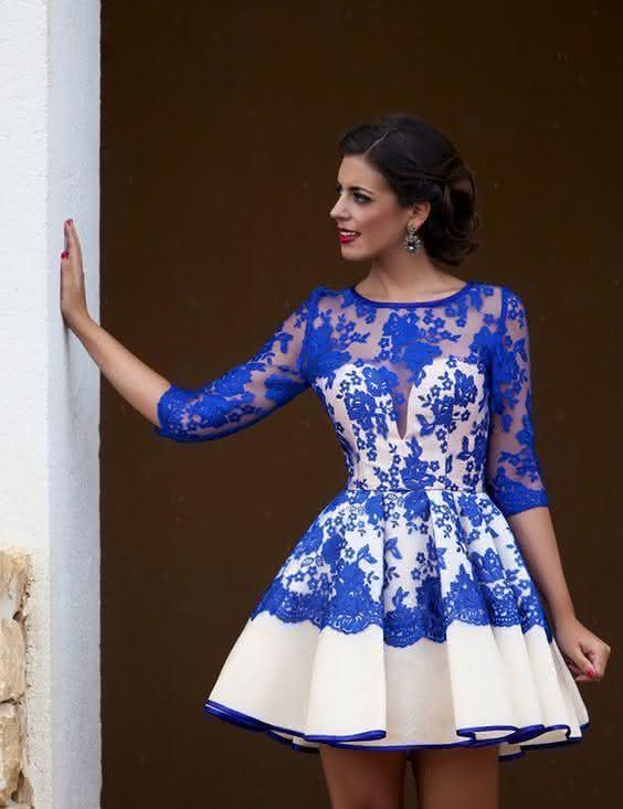 vestido de renda- azul