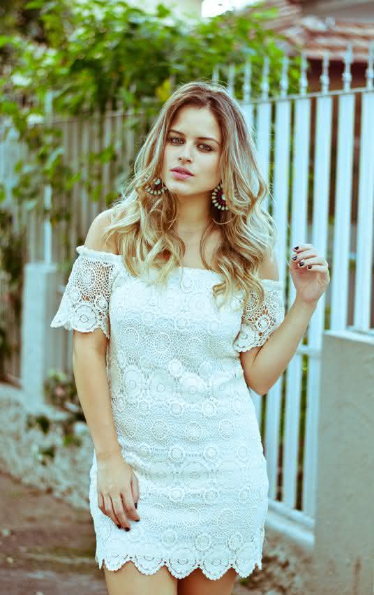 vestido de renda- branco curtinho