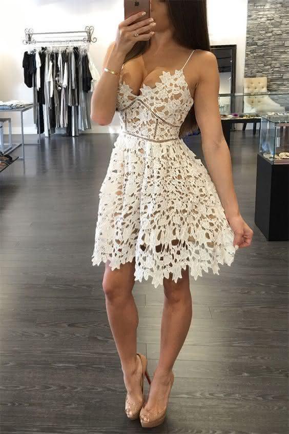 vestido de renda-branco curto