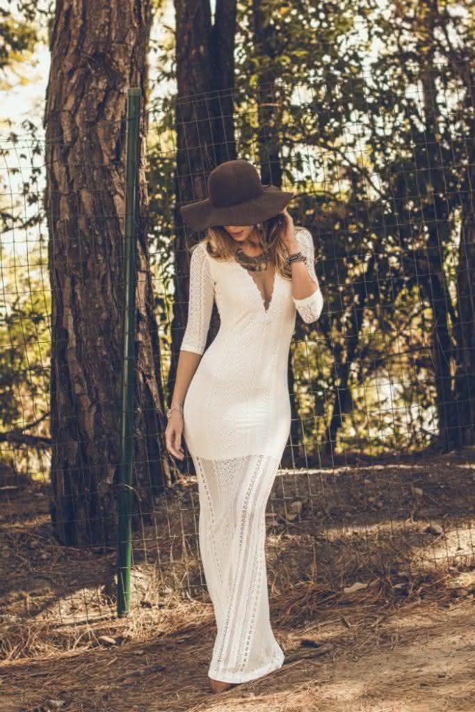 vestido de renda- branco longo