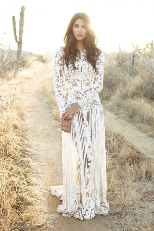 Vestido longo branco guipir