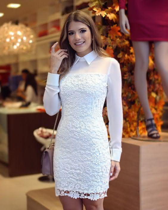 681d5cf775 vestido de renda- manga longa branco - Pequena Mila