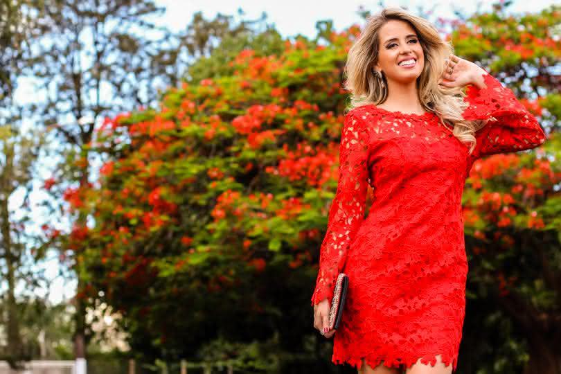 vestido de renda para festa- vermelho