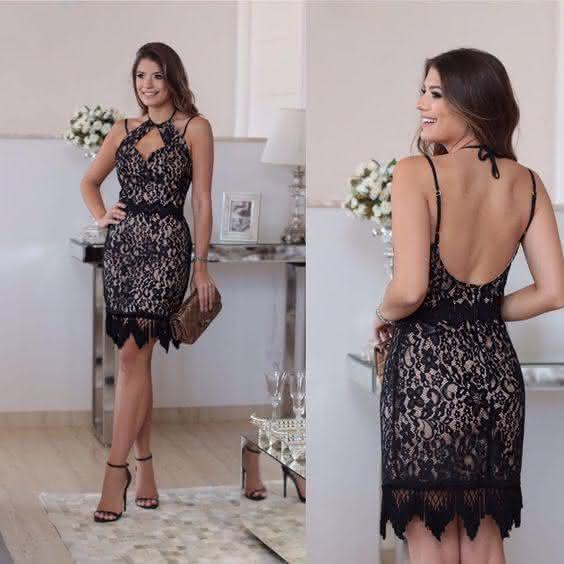 vestido de renda- preto