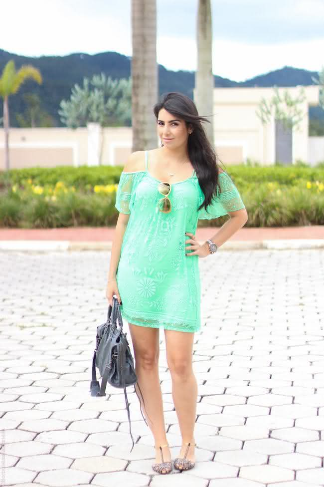 vestido de renda- verde