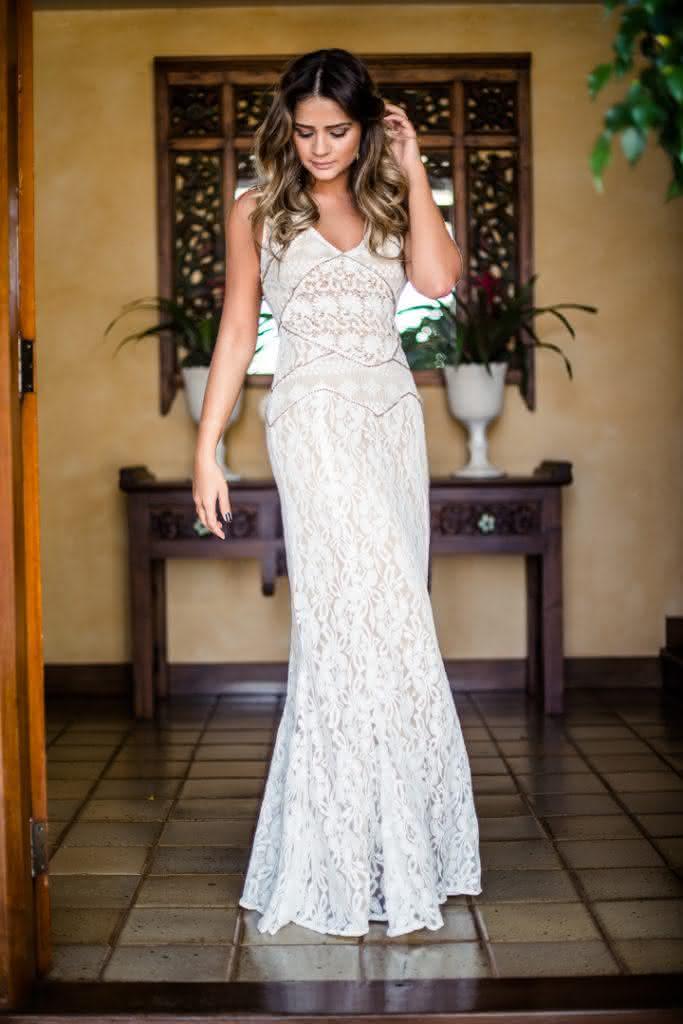 vestido longo de renda- branco