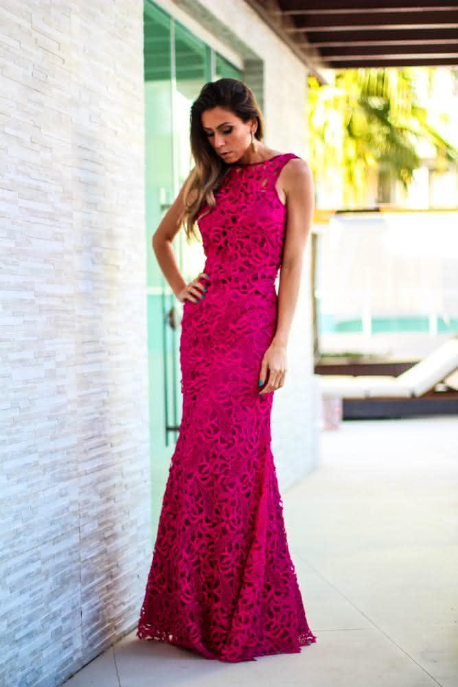 vestido longo de renda- rosa