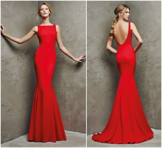 Vestidos de formatura vermelho longo