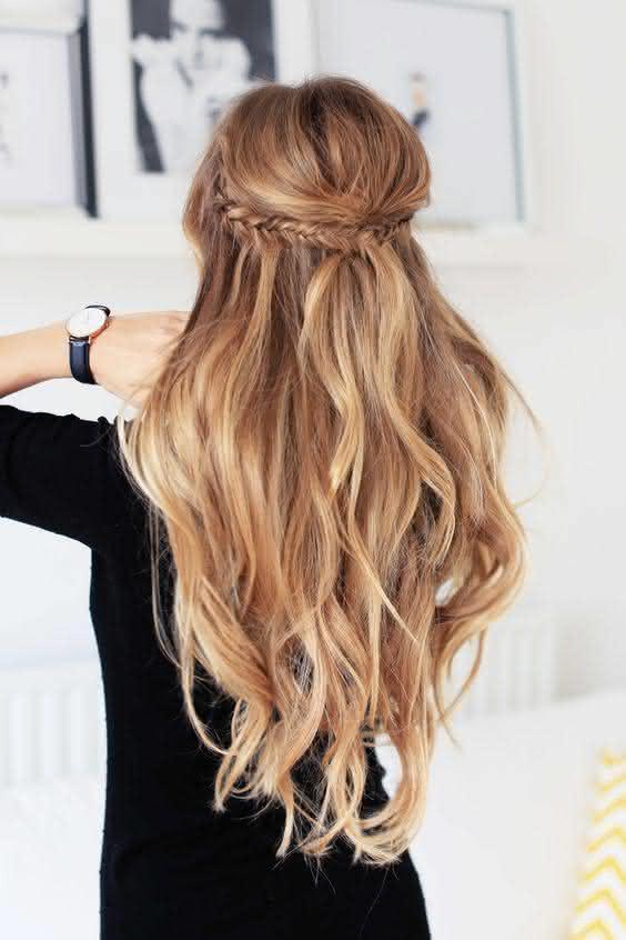 penteados semi presos e longos