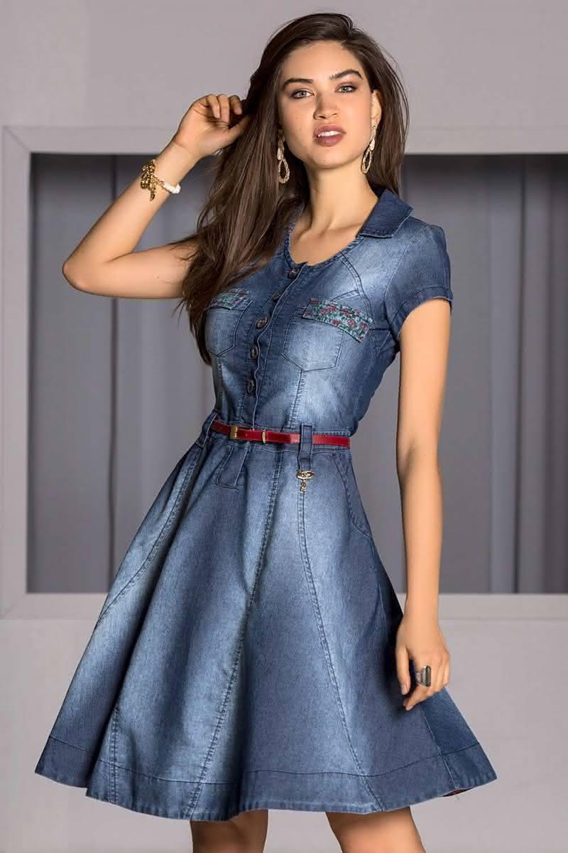 Vestido jeans feminina 2019