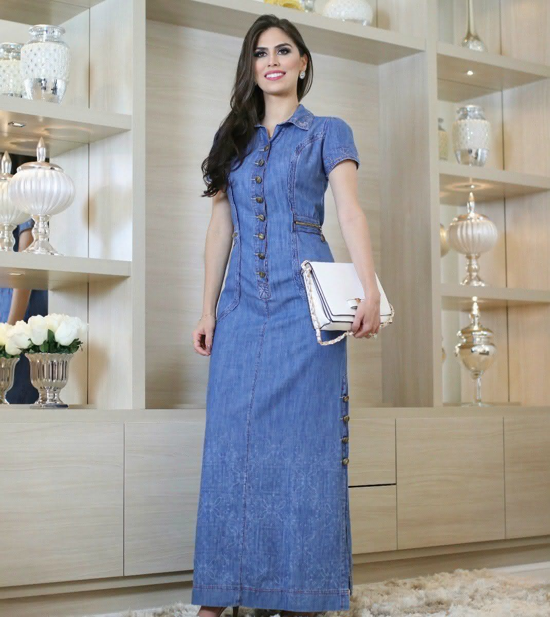 Modelos de vestidos de jeans 2019