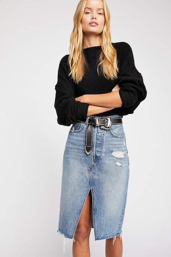 Saia jeans 2020
