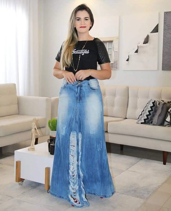 Saia longa em jeans 2020