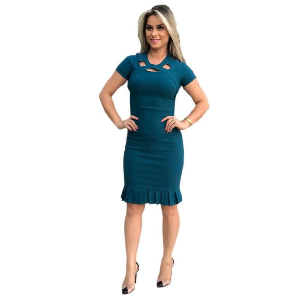 Vestido Evangélico tubinho azul