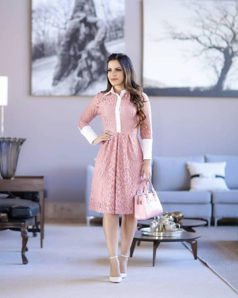 Vestido Evangélico renda rosa
