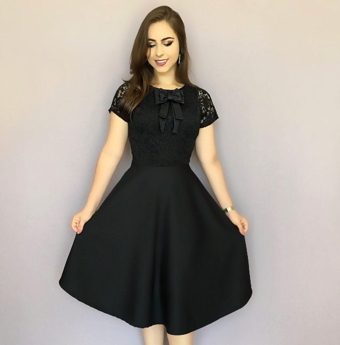 Vestido Evangélico renda preta