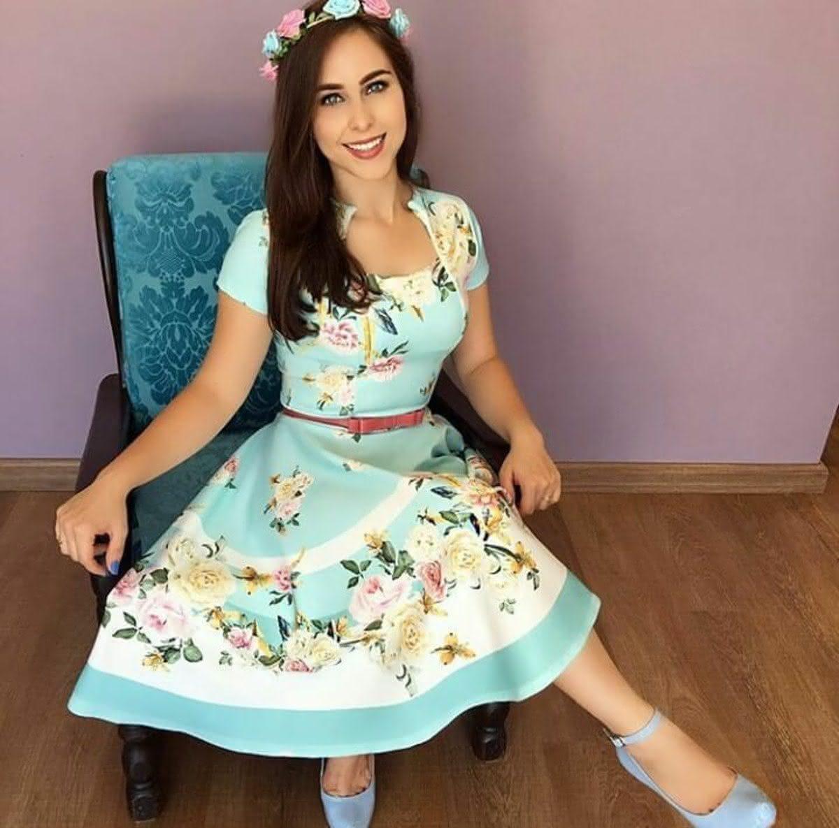 Vestido Evangélico floral azul