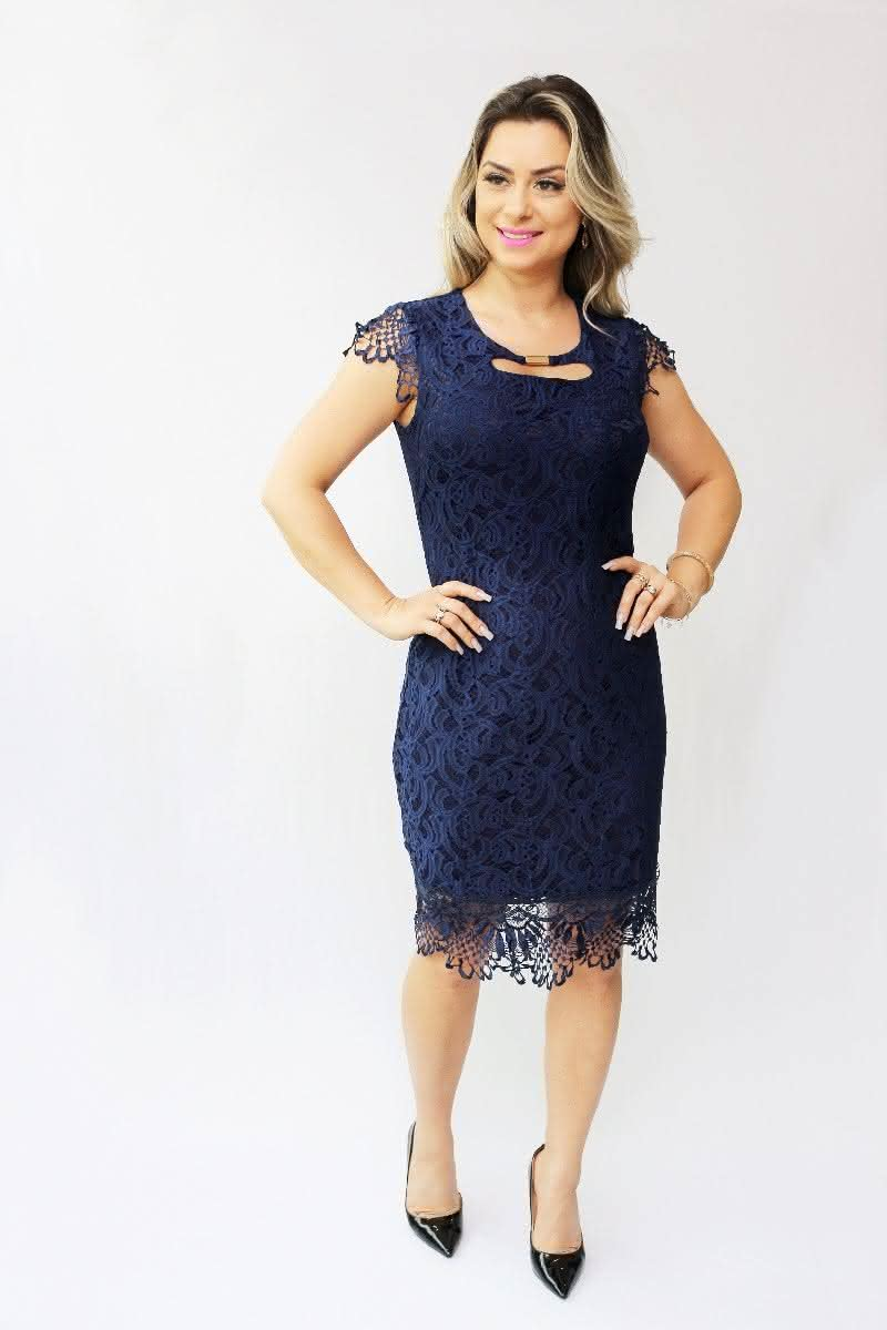 Vestido Evangélico renda azul