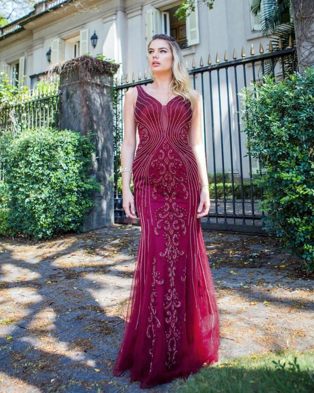 Modelos de vestido de festa marsala