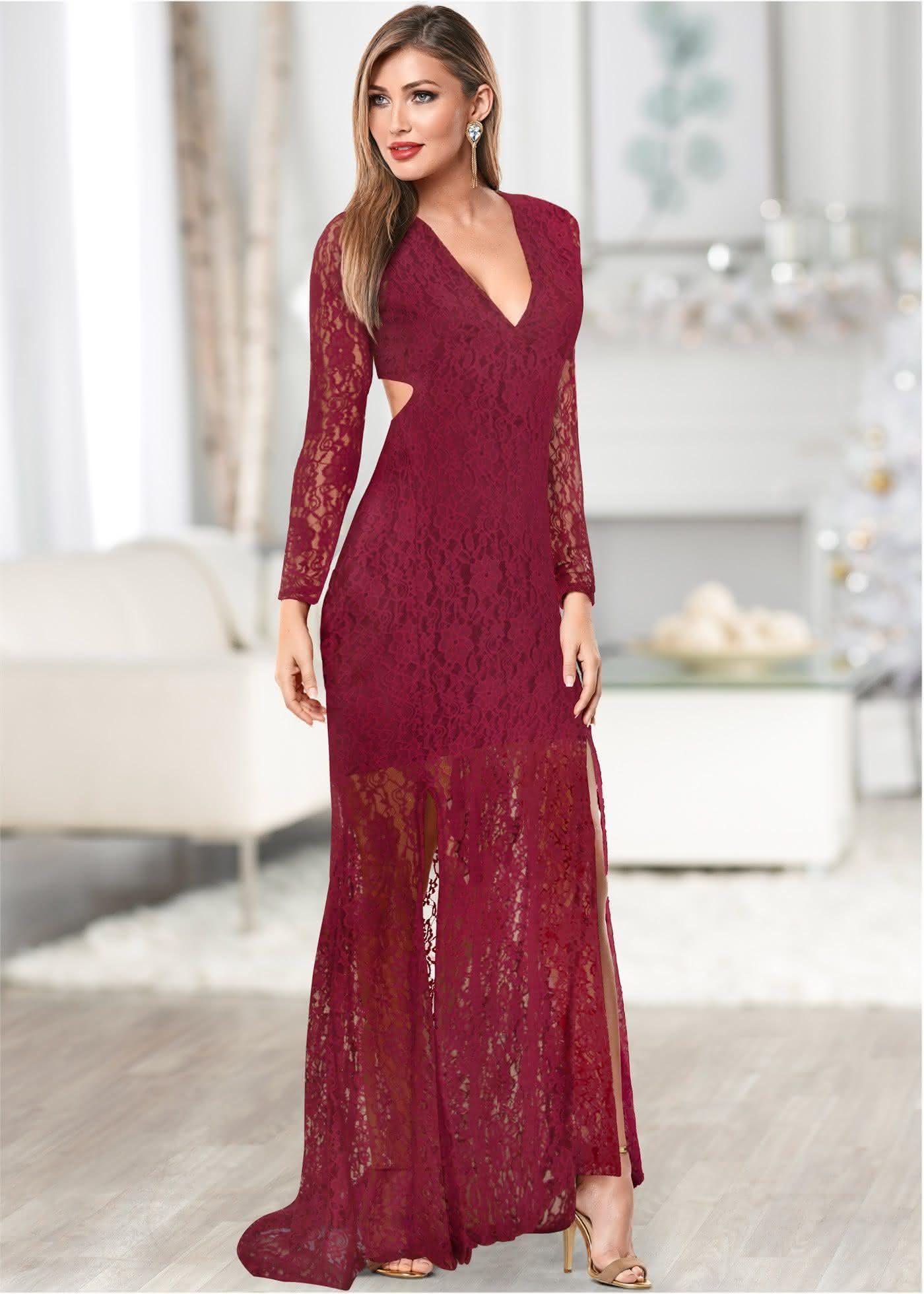Vestido de renda marsala