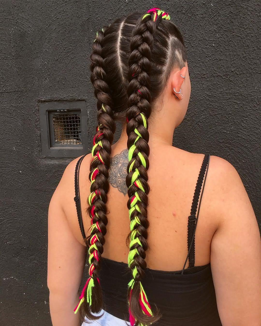 Trança boxeadora cabelo com fibra colorida
